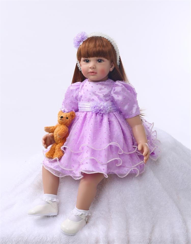 Silicone Reborn Baby Doll Toys 55cm Princess Toddler Dolls Birthday Present Gift Girls Brinquedos Dolls Play House Bedtime Toy 50cm princess baby dolls toys for girls lifelike birthday present gift for child early education play house bedtime toy dolls