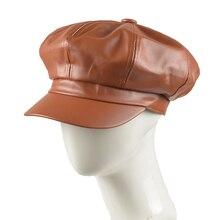 Модные Восьмиугольные шапочки Женские однотонные простые шляпы Newsboy винтажные Женские однотонные шапки из искусственной кожи Аксессуары для одежды