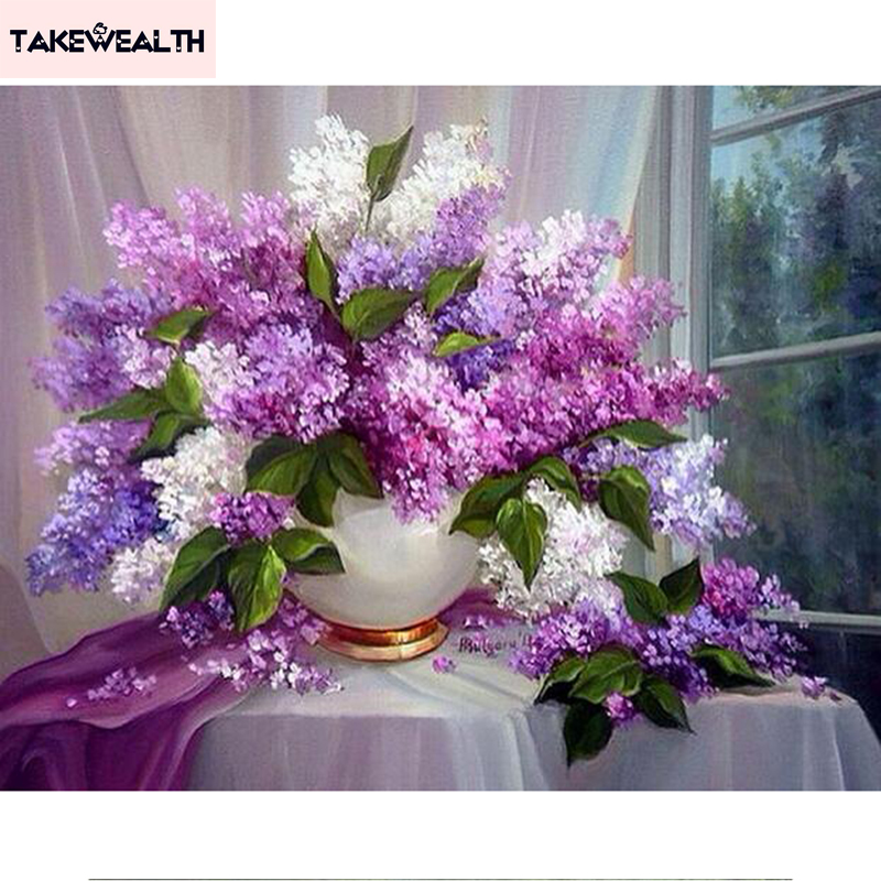 Patterns Lilac flowers 5d Diy Diamond Painting Diamond Embroidery 3D full round mosaic Pictures Rhinestones Home Decoration s406