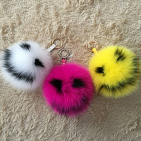 15cm Fluffy Smile Real Fox Fur Keychain Love Heart Fur Ball Keychain Pom Pom Key Chain Llavero Pompon Keyring Charm Bag Pendant