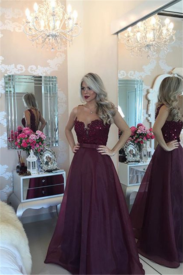 b7eb2c09d0 Sezy A Line Chiffon Long Burgundy Evening Prom Dress 2017 Beaded Pearls  Lace Appliques Bow Party Gowns Robe De Soiree