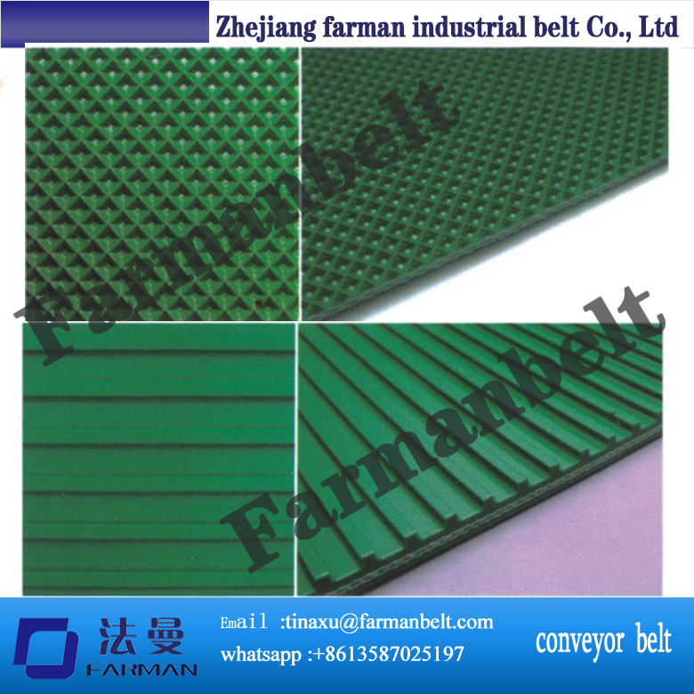 Beer industry rough surface green PVC Conveyor Belt grass pattern rough surface green pvc skid conveyor belts