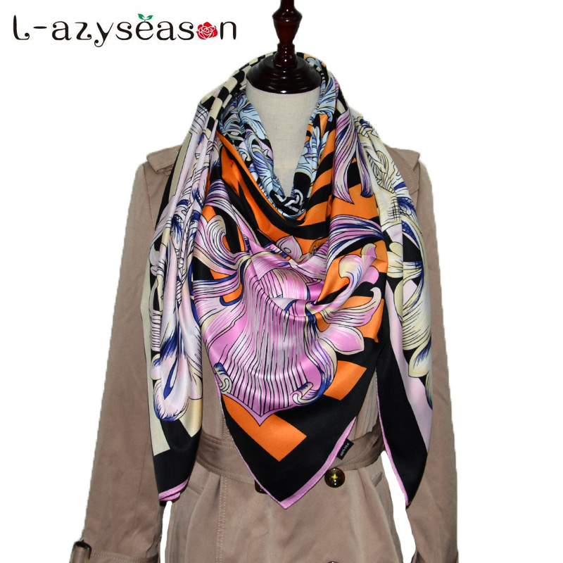 2018 Newest bandana   Scarf   big size 130X130 CM High Quality Summer Silk Women Print Stole Fashion Ladies Shawl   Scarves     wraps