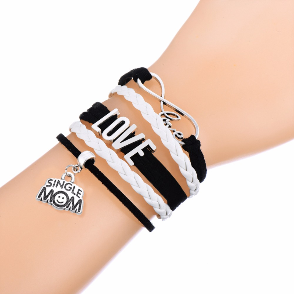 Online Shop Leather Chain Multilayer Infinite Word Single Mom With Smile  Geometric Shape Pendant Handknit Wrap Bracelet Wholesale 10 Pcs   Aliexpress