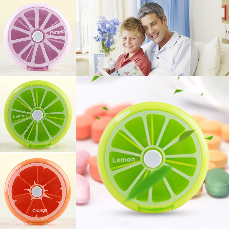 Health Care Medicine Pill Box Fruit Shaped Sort Vitamin 7 Day Weekly Holder Tablet Storage Container Cases Travel Round XH8Z