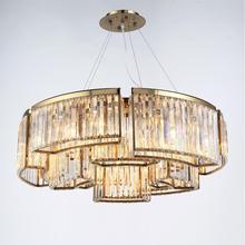 New crystal chandelier American custom light round luxury hotel designer gold LED lights