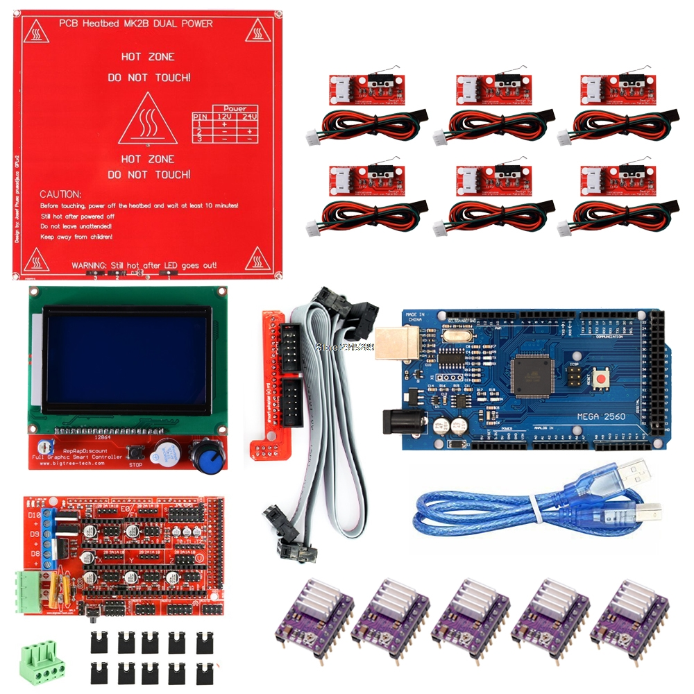 3D Printer Kit for Arduino Mega 2560 R3 + MK2B + RAMPS 1.4 Controller + LCD 12864 + 6x Limit Switch Endstop + 5x DRV8825 Driver