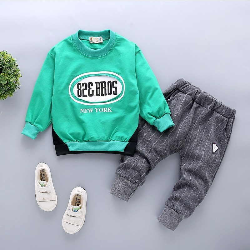 2019 New Spring Children Boys Cotton sport Clothing Baby Fashion Brand T Shirt Pants 2Pcs/Sets Infant Leisure Toddler Tracksuits(China)