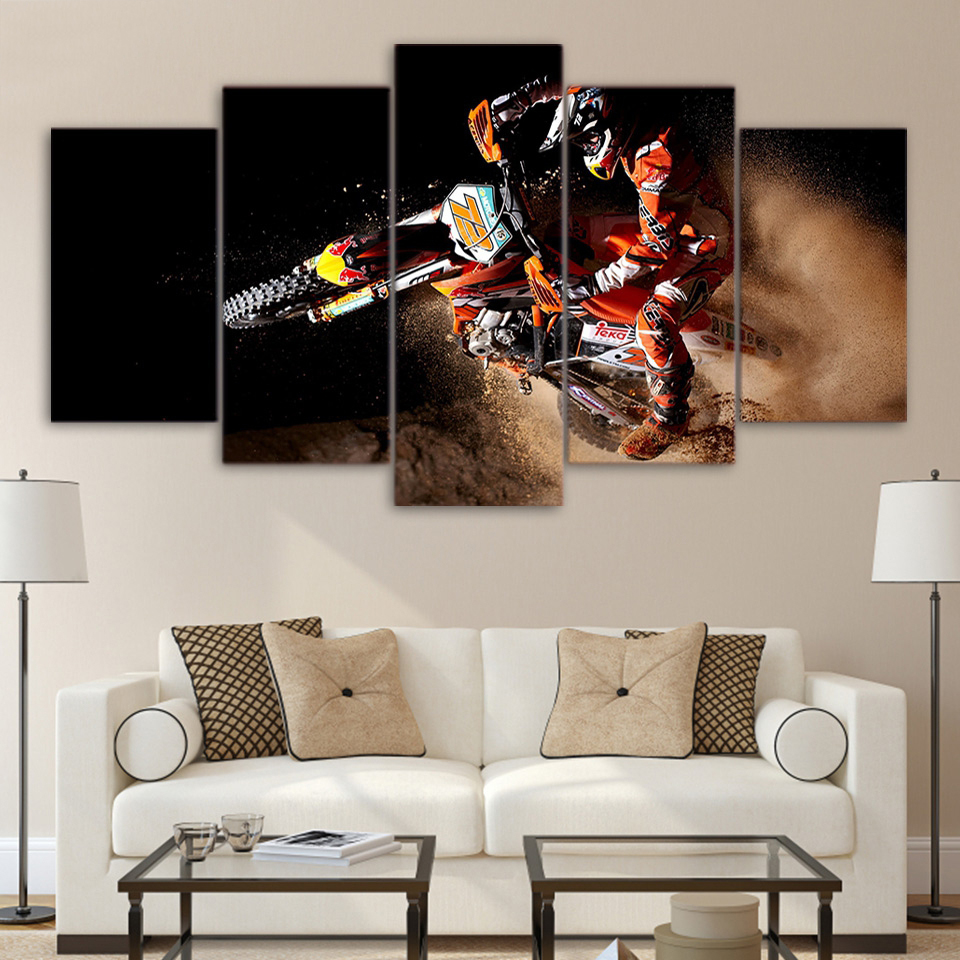 Canvas Home Decor Modular Pictures HD Print Painting Frame For Living Room 5 Pieces Sports Motocross Car Wall Art Poster TYG