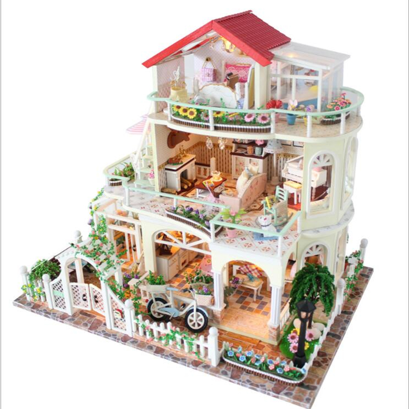 Three Storey Exquisite Villa Assemble DIY Doll House With Furniture Wooden Handcraft Doll house Toys for Children Birthday Gifts