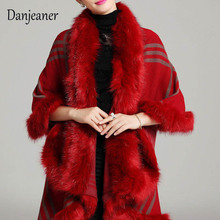 Danjeaner Autumn Winter Womens Plaid Wool Fur Shawl Jacket Vintage Thick Warm Knitted Cardigan Cloak Coat Clothes