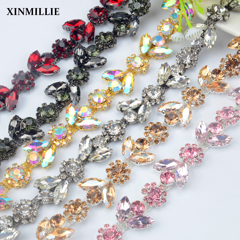 High Quality 1yard Rhinestone Trim Plum Drill Chain Clothing Horse Eye Rhinestone Cup Chain All-Match Diy Wedding Accessories