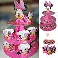 Suporte do queque Minnie mouse 24 pcs envoltório do queque do aniversário dos miúdos fontes do partido do chuveiro do bebê favor de partido cupcake decoração set