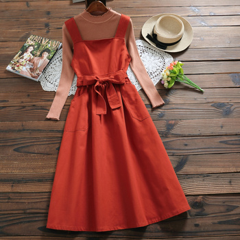 Black,Orange,Khaki,Green Japan Mori Girl Sundress New Spring Autumn Women Sleeveless Vest Long Cotton Dresses with Belt girl