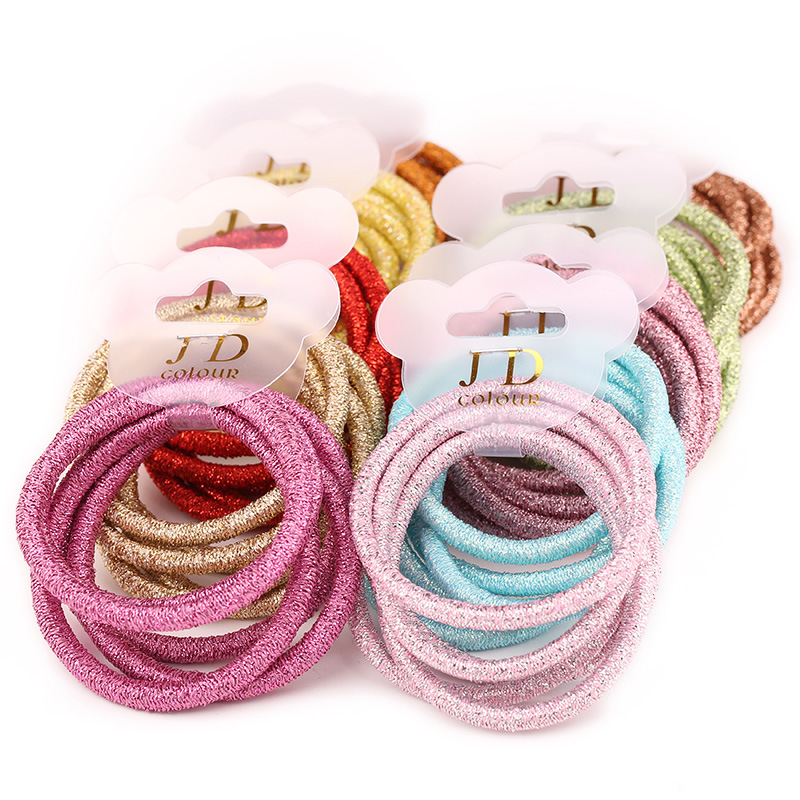 5PCS /lot Diameter 4.4cm Children Shining Elastic Hair Band Candy Color Solid Headband For Girls Hair Hoder Hair Accessories