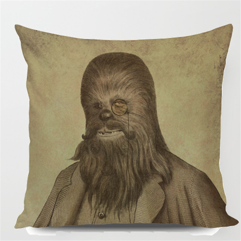Square 18 Chewbacca Printed Cushion Cover Pattern Throw Pillow Cases Custom Star Wars Pillow Case Customized Drop Shipping