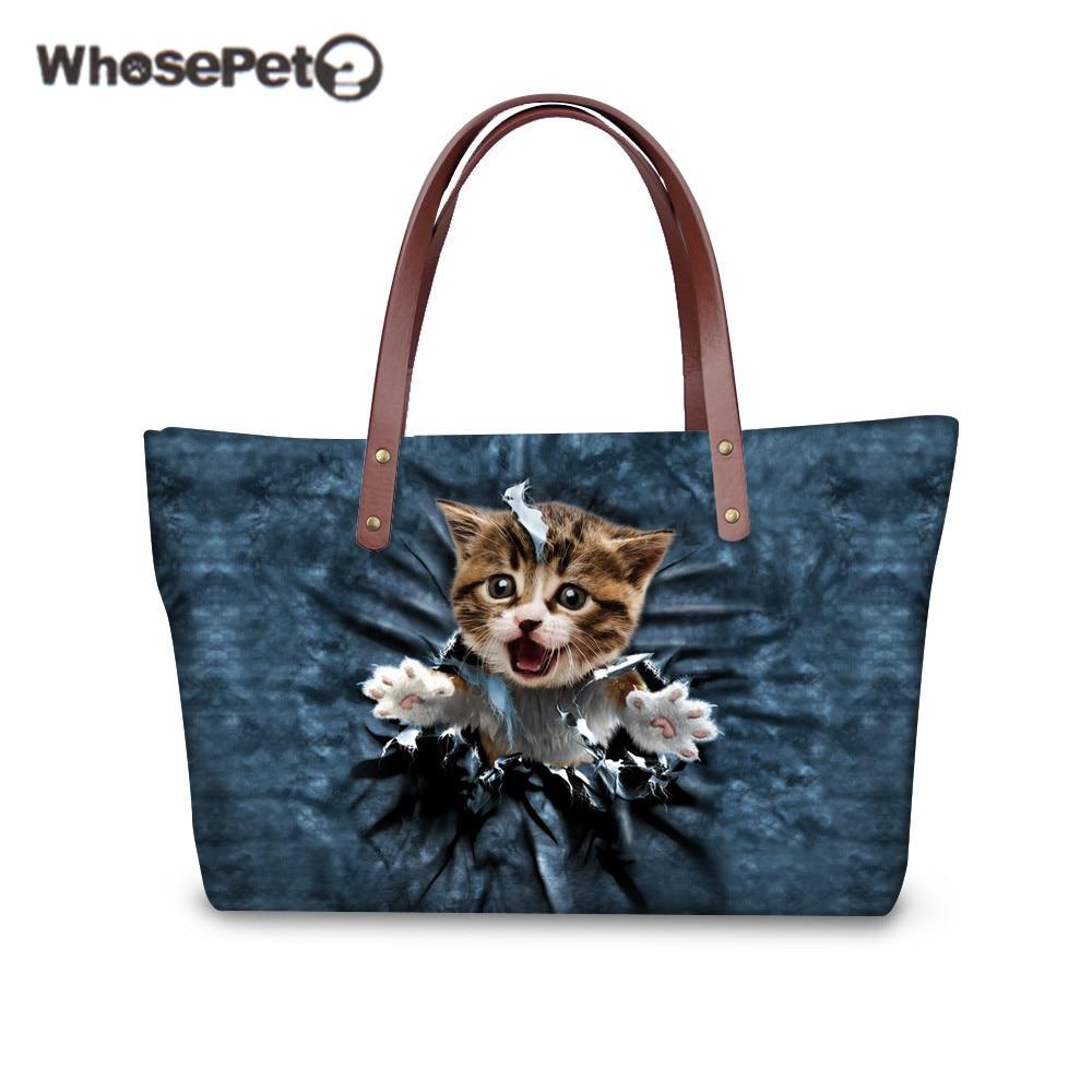 WHOSEPET 3D Cats Girls Tote Bags Cute Waterproof Nylon Handbags Dogs Calling to Out Printing Handbag