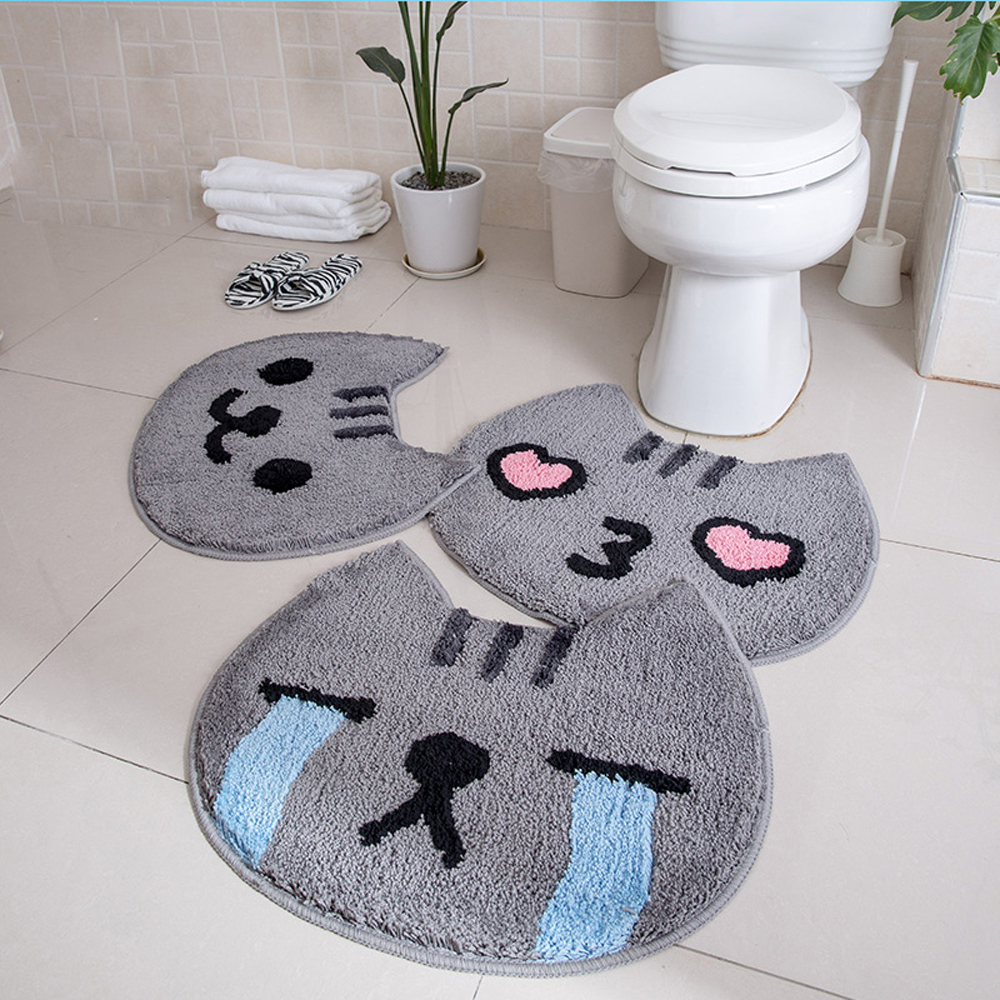 Microfiber Soft Fluffy Shag Rug Cartoon Gray Cat Strong Absorbent Non-slip Bathroom Mat Anti skid Doormat Bedside Kids Carpet