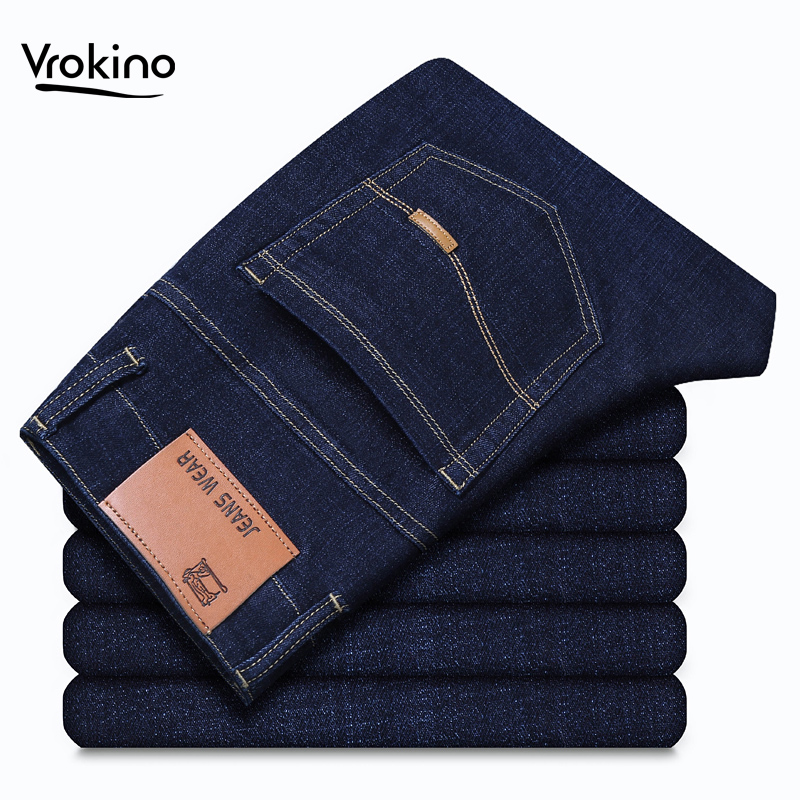 VROKINO Brand 2020 Men's Trousers Jeans Business Leisure Slim Fit Elastic Force Straight Jeans Male Blue Black Trousers 42 44