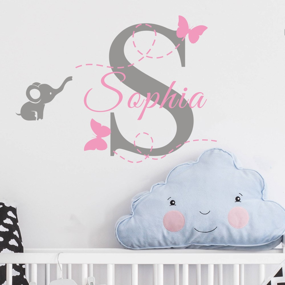 Customized Name Elephant Butterfly Wall Decal for Girls Kids Baby Room Mural Removable Vinyl Wall Sticker Free Shipping KW-115
