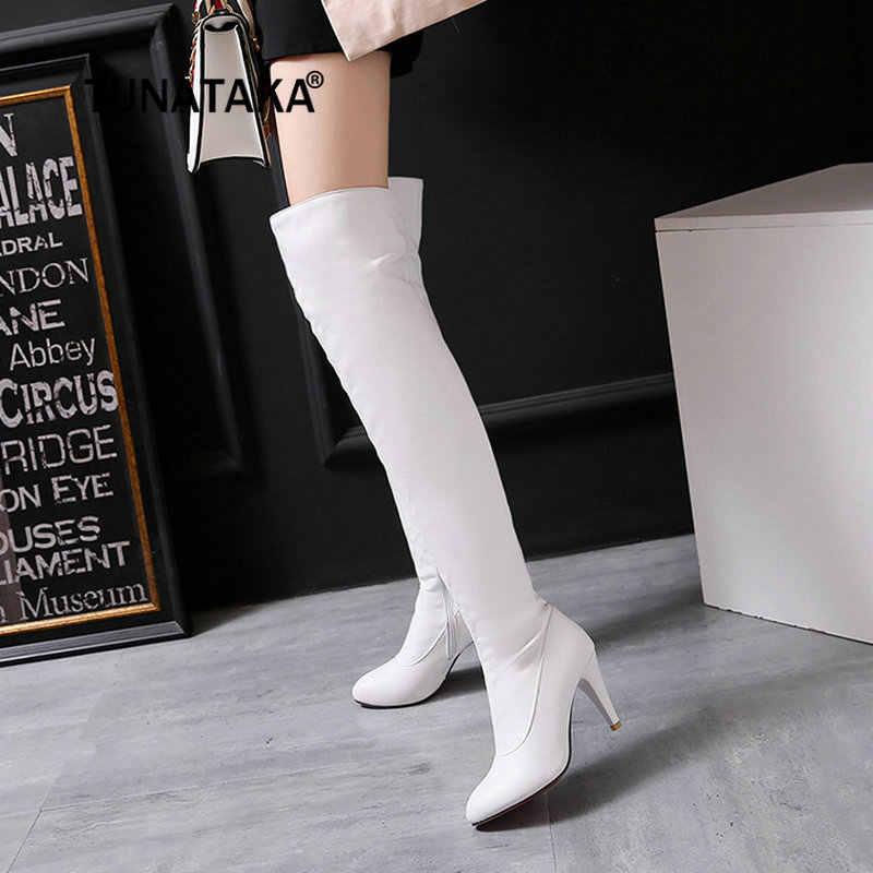 ผู้หญิงขาบู๊ทส์เซ็กซี่บางส้นสูงเหนือเข่ารองเท้าแฟชั่นฤดูหนาวผู้หญิงรองเท้าแอปริคอทสีขาวสีดำ