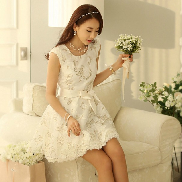 ee72f89428f4f Promotion Top Fasion Work Knee-length 2014 Spring Women Summer Lace Puff  Basic Sleeveless One-piece Dress