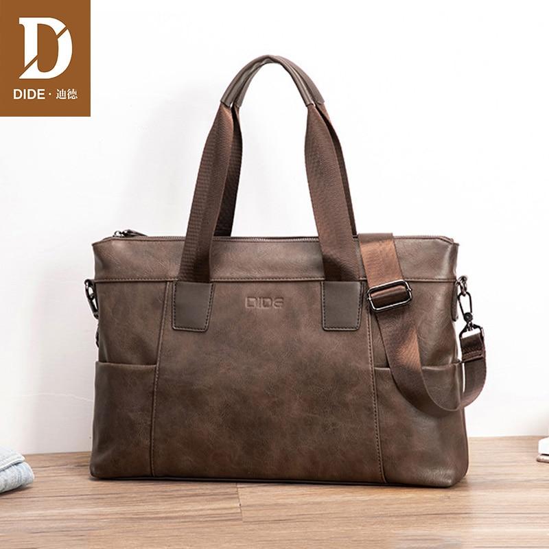 DIDE Fashion Leather Briefcases Men Vintage Handbag Business Travel Laptop Messenger Bag Male Tote Bolsa Maleta