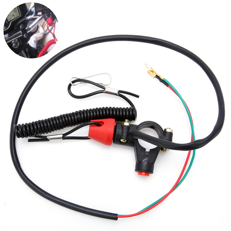 1Pc Universal Black Engine Stop Tether Lanyard Closed Kill Switch Safety For Motorcycle Quad Bike DC 12V image