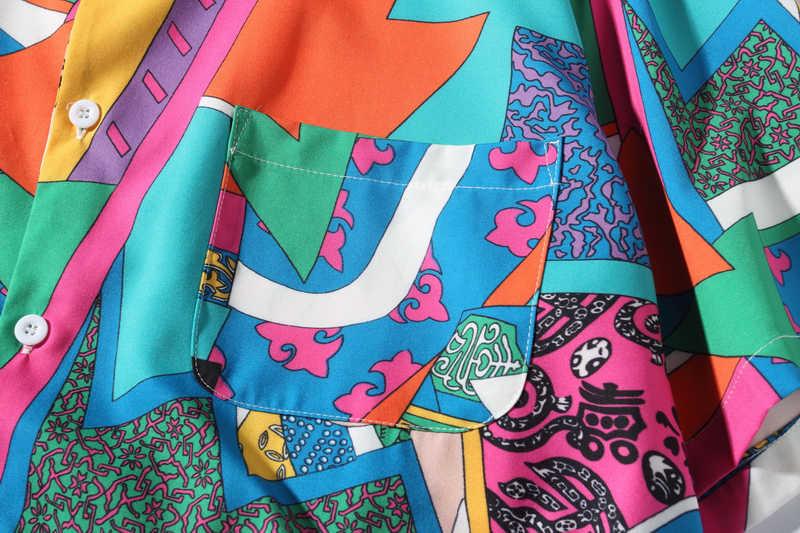 Мужская рубашка с короткими рукавами в стиле хип-хоп, Японская уличная шелковая Повседневная рубашка Ukiyoe, мужские летние модные Гавайские рубашки HE01