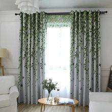 Затемненная занавеска для гостиной с принтом листьев птиц, занавески для спальни, кухни, балкона, пасторальная свежая прозрачная занавеска для украшения окна