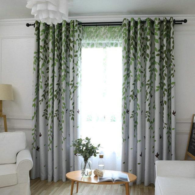 Blackout Vorhang Für Wohnzimmer Blätter Vögel Gedruckt Vorhänge ...