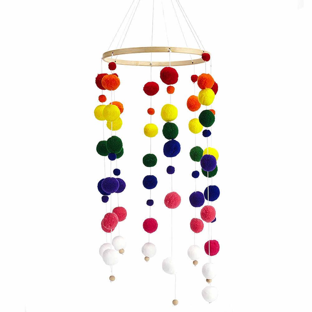 手作り耐久性保育園美しいベッドギフト木製装飾子供ルームフェルトボール写真の小道具ベビー風チャイムクラフト