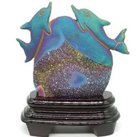 5.6 plated Geode Agate Dolphin Hand Carved Animal Statue Home Office Decor Gif
