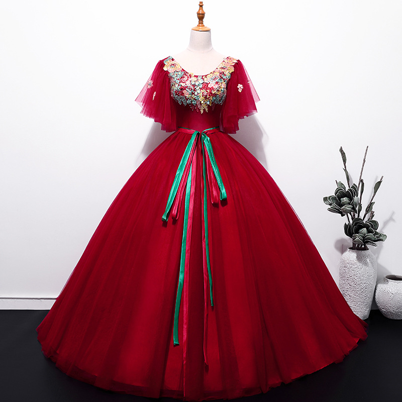 Ball Gown Quinceanera Dresses Long red tulle lace up butterfly Vestidos De 15 Anos lace Prom Dress For Girls quinceanera kleid