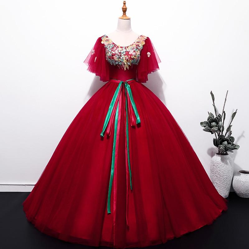 6923 6 De Descuentovestido De Fiesta Quinceañera Vestidos Largos De Tul Rojo Con Encaje De Mariposa Vestidos De 15 Anos De Encaje Vestido De