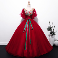 d20c0fa41a Ball Gown Quinceanera Dresses Long Red Tulle Lace Up Butterfly Vestidos De 15  Anos Lace Prom