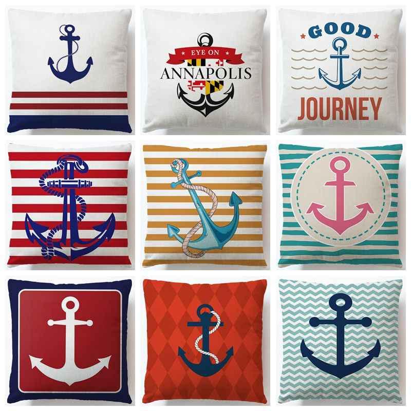 Красочные с принтом из хлопка и льна для подушек с изображением якоря морской корабль Подушка Чехол Декоративная Подушка Чехол Cojines Almofadas