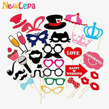 31pcs/lot Mustache Lip Glass Mask for Fun Favors Photobooth Photocall Wedding Photo Booth Props Party Decorations Supplies