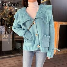 RUGOD coreano dulce invierno suéter de punto de mujer casuales de encaje de manga  larga-breasted chaqueta mujer damas wintertrui 27da287298fc