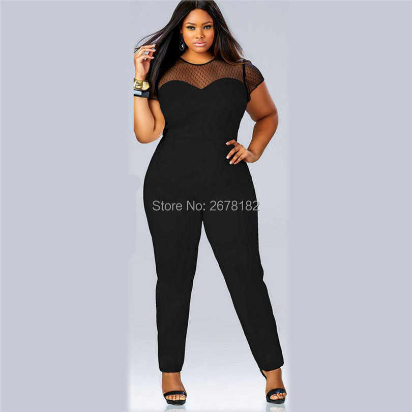 da4f0821d04a ... Plus size L-4XL women jumpsuit 2018 short sleeve mesh lace Patchwork  rompers large size ...