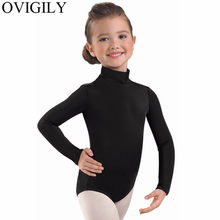 OVIGILY Girls Long Sleeve Dance Leotard Kids Lycra High Neck Black Ballet Leotards Dancewear Turtleneck Gymnastics Bodysuits(China)