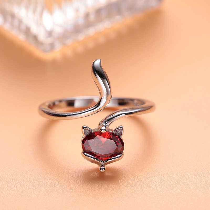 Fashion Exquisite Lady Natural Crystal Ring Fox Princess Wedding Engagement Jewelry Opening Rings