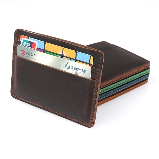 2018 New Arrivals Men Credit ID Card Holders Vintage Design Crazy Horse Leather Customized Business Unisex Wallet Wholesale