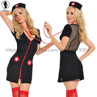 ST707 New Arrival Sexy Lingerie Hot Black Temptation Nurse Cosplay Erotic Lingerie Hat Lingerie Set Sexy