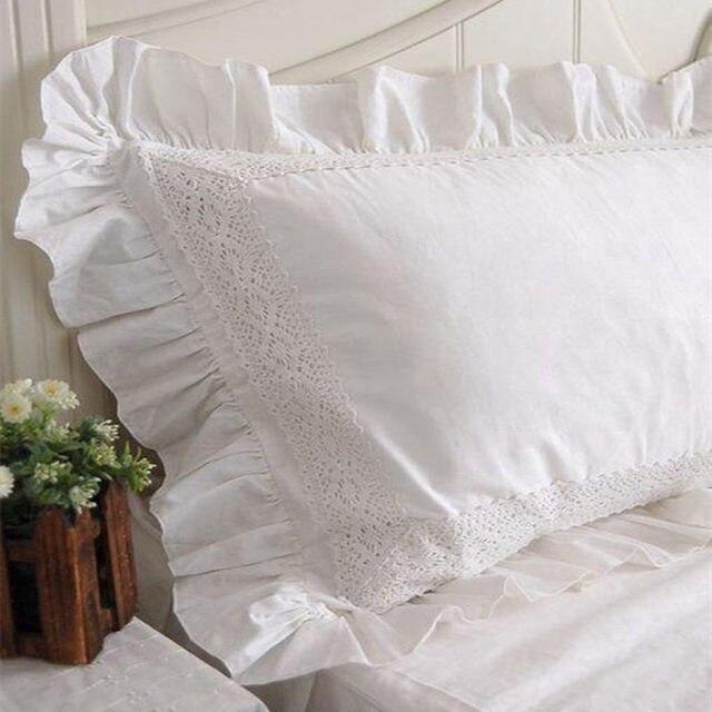 taie oreiller dentelle 2 pcs nouveau Blanc Satin Dentelle ruche taie d'oreiller style  taie oreiller dentelle