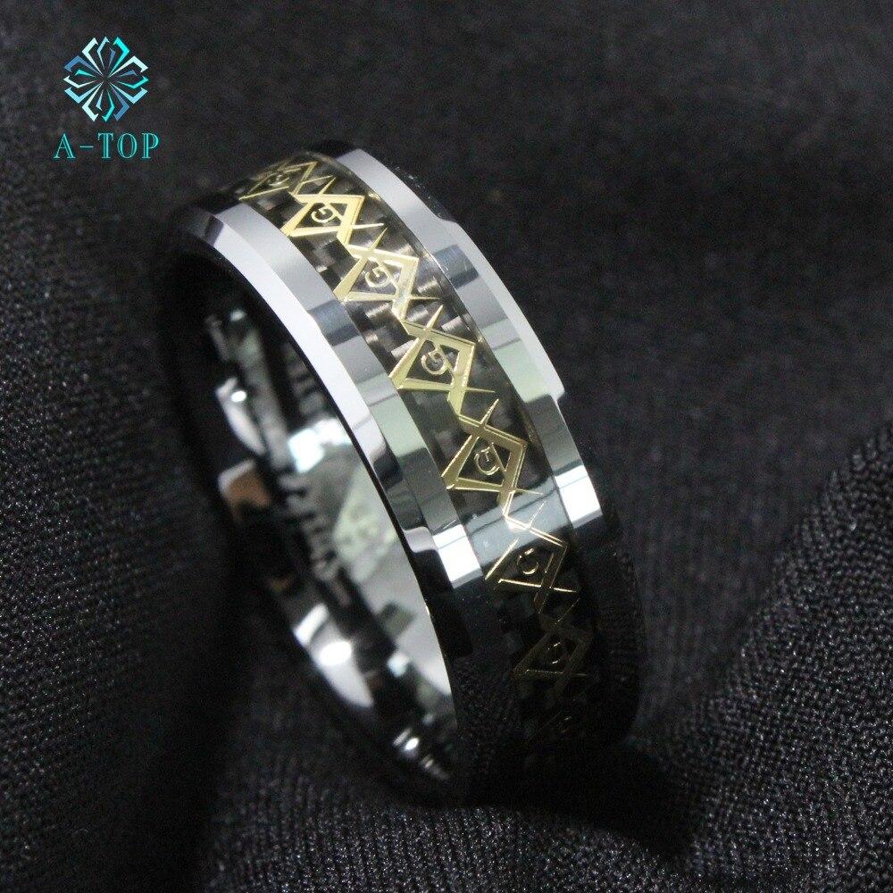 507fa398a58a ᐊ8mm anillo de carburo de tungsteno negro y oro fibra de carbono ...
