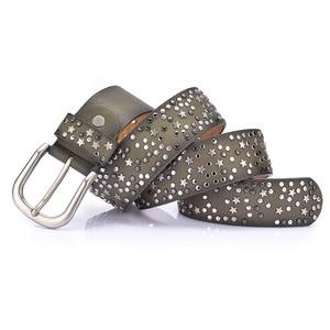 Image 5 - New Fashion womens Rivet belts Punk rock style belt For lady PU + Genuine leather Sequins Metal buckle Wide Metal rivet bead