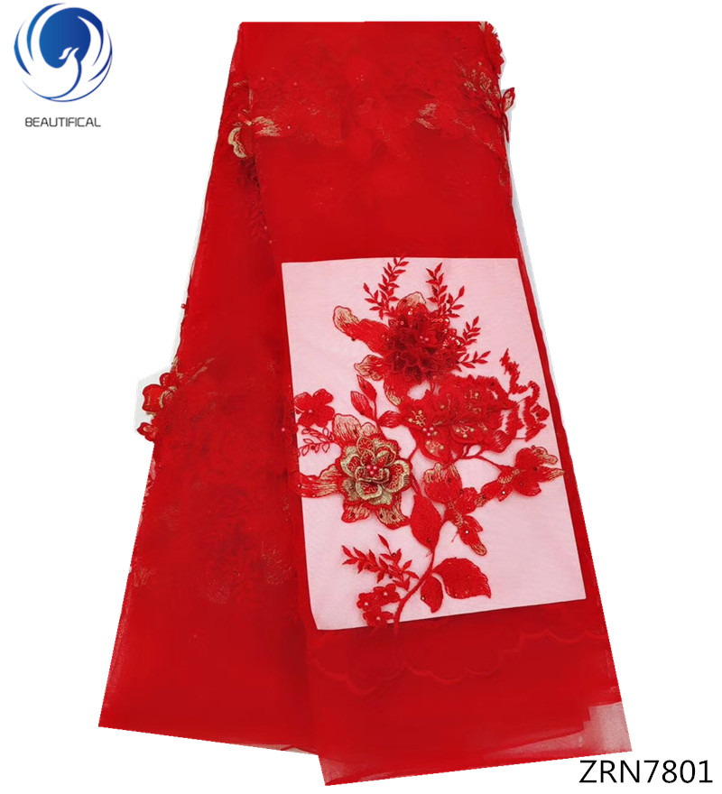 BEAUTIFICAL 3d fleur tissu en dentelle Rouge dentelle nigeria matériel pour tenue de fête dentelle de tissus africains perles ZRN78