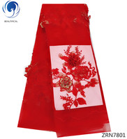 BEAUTIFICAL 3d flower lace fabric Red nigeria lace material for party dress african fabrics lace beads ZRN78