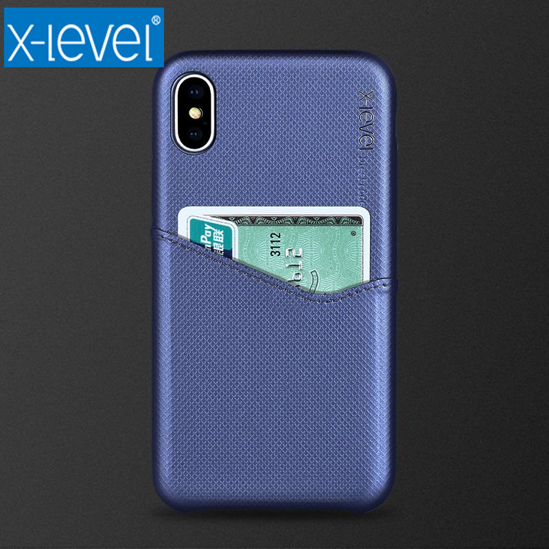 X-Level Luxury Business Card Case for Apple iPhone X 8 7 6 6S Plus Hard PC Back Cover for iPhone 6 6S 7 8 Plus X 10 Fitted Case